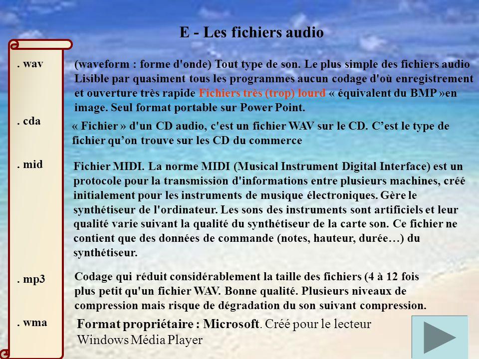 E - Les fichiers audio . wav. . cda. . mid. . mp3. . wma.