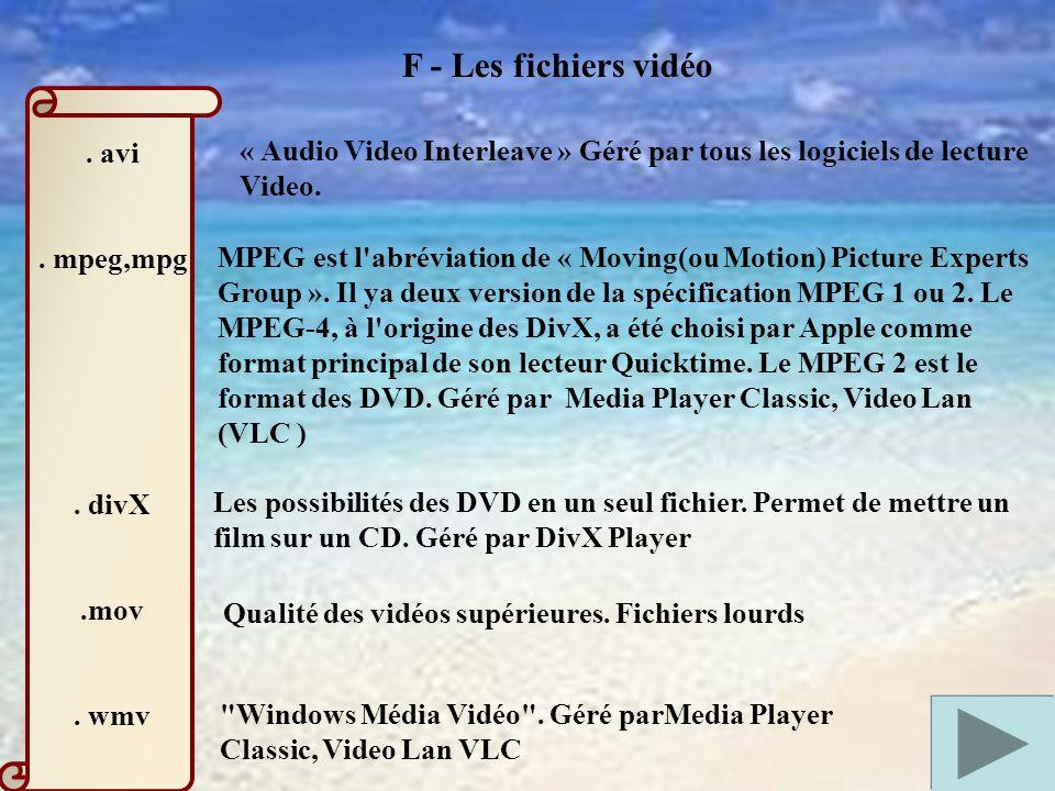 F - Les fichiers vidéo . avi