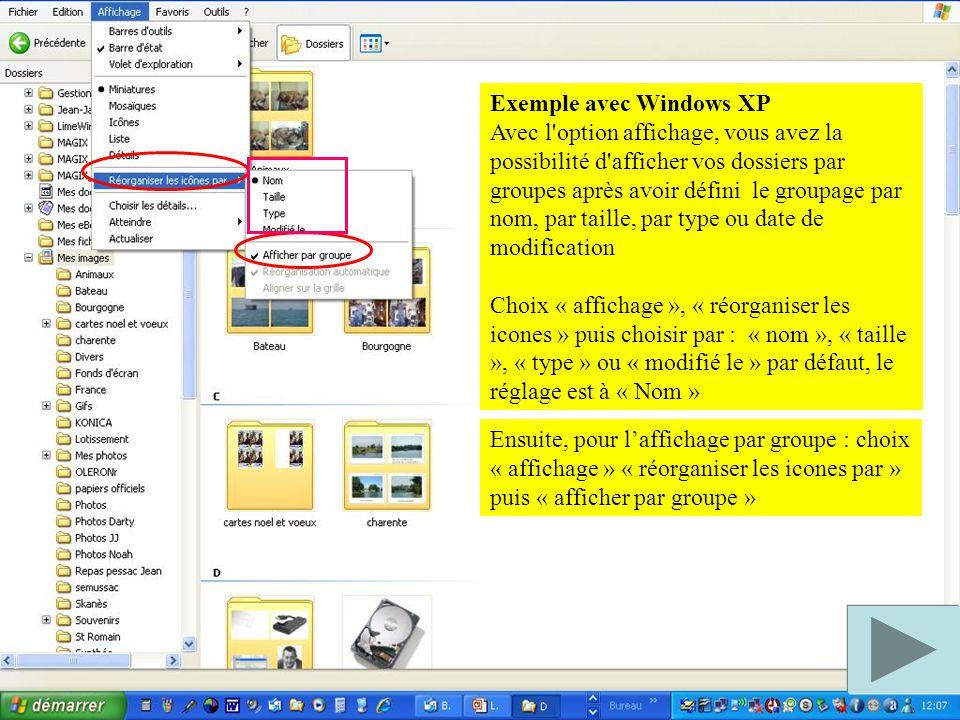 Exemple avec Windows XP
