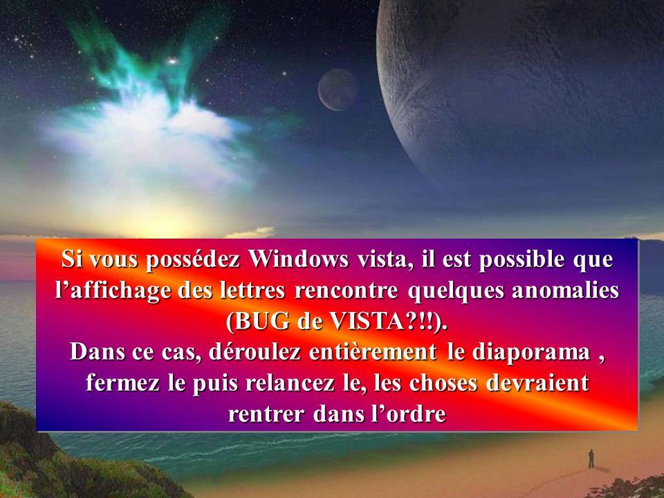 Si vous possédez Windows vista, il est possible que l'affichage des lettres rencontre quelques anomalies (BUG de VISTA !!).