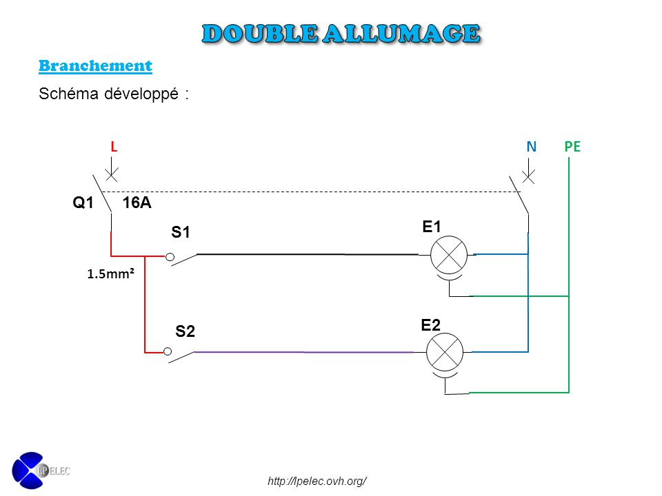 Schema electrique unifilaire double allumage - Schema simple allumage ...