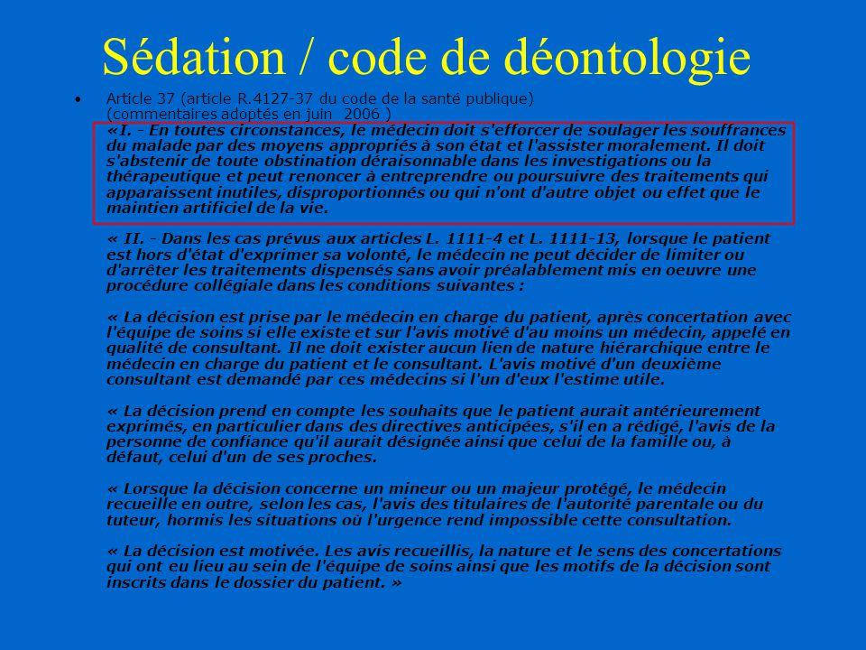 Sédation / code de déontologie