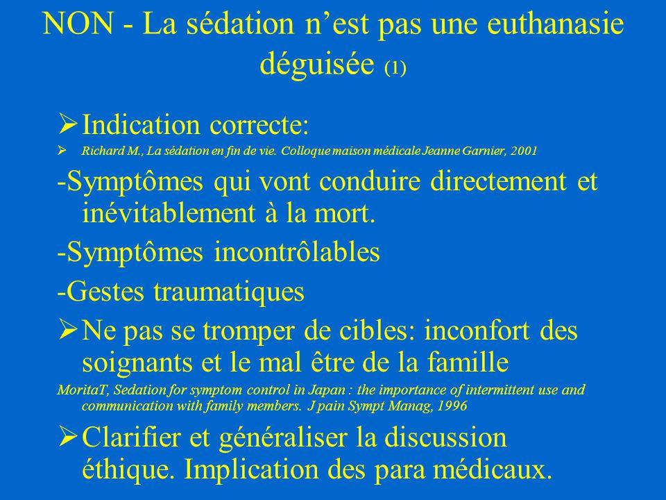 NON - La sédation n'est pas une euthanasie déguisée (1)