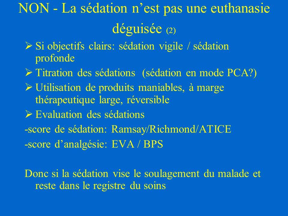 NON - La sédation n'est pas une euthanasie déguisée (2)