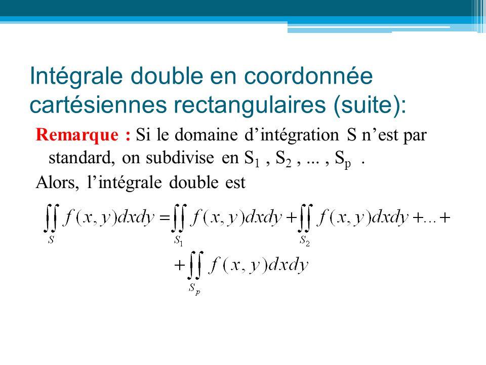 Intégrale double en coordonnée cartésiennes rectangulaires (suite):