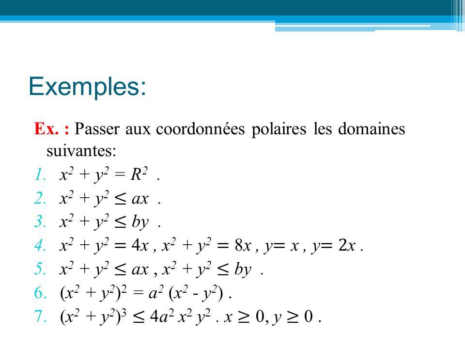 Exemples: Ex. : Passer aux coordonnées polaires les domaines suivantes: x2 + y2 = R2 . x2 + y2 ≤ ax .