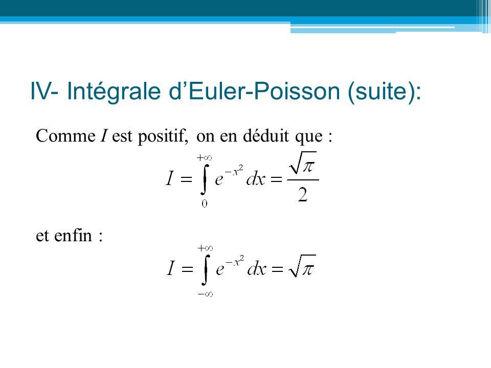 IV- Intégrale d'Euler-Poisson (suite):