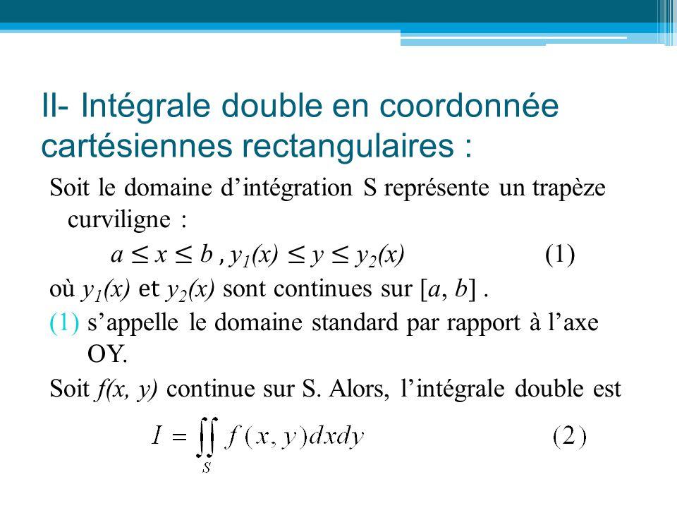 II- Intégrale double en coordonnée cartésiennes rectangulaires :
