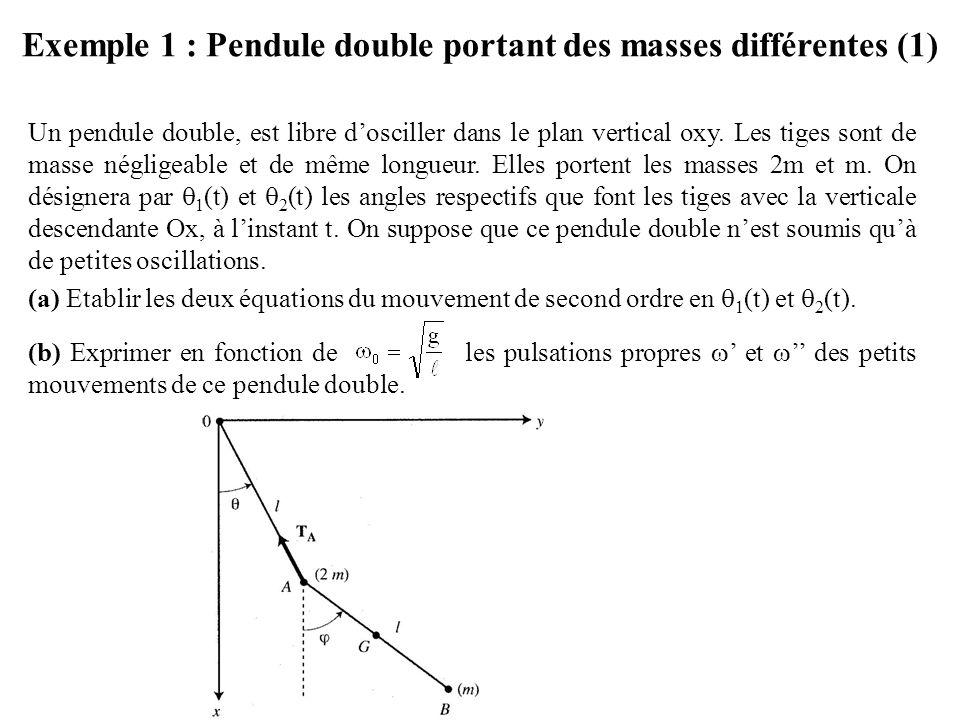 Exemple 1 : Pendule double portant des masses différentes (1)