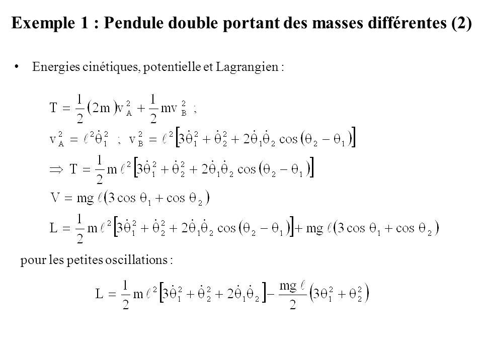 Exemple 1 : Pendule double portant des masses différentes (2)
