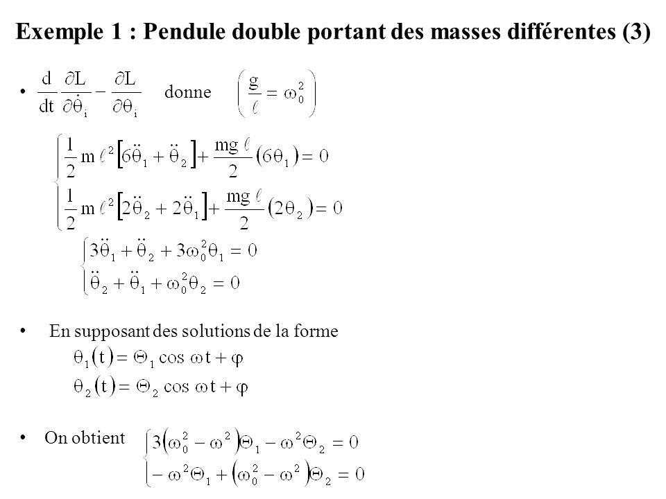 Exemple 1 : Pendule double portant des masses différentes (3)
