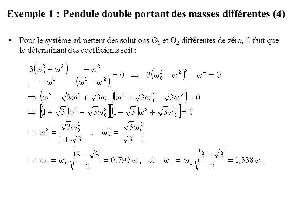 Exemple 1 : Pendule double portant des masses différentes (4)