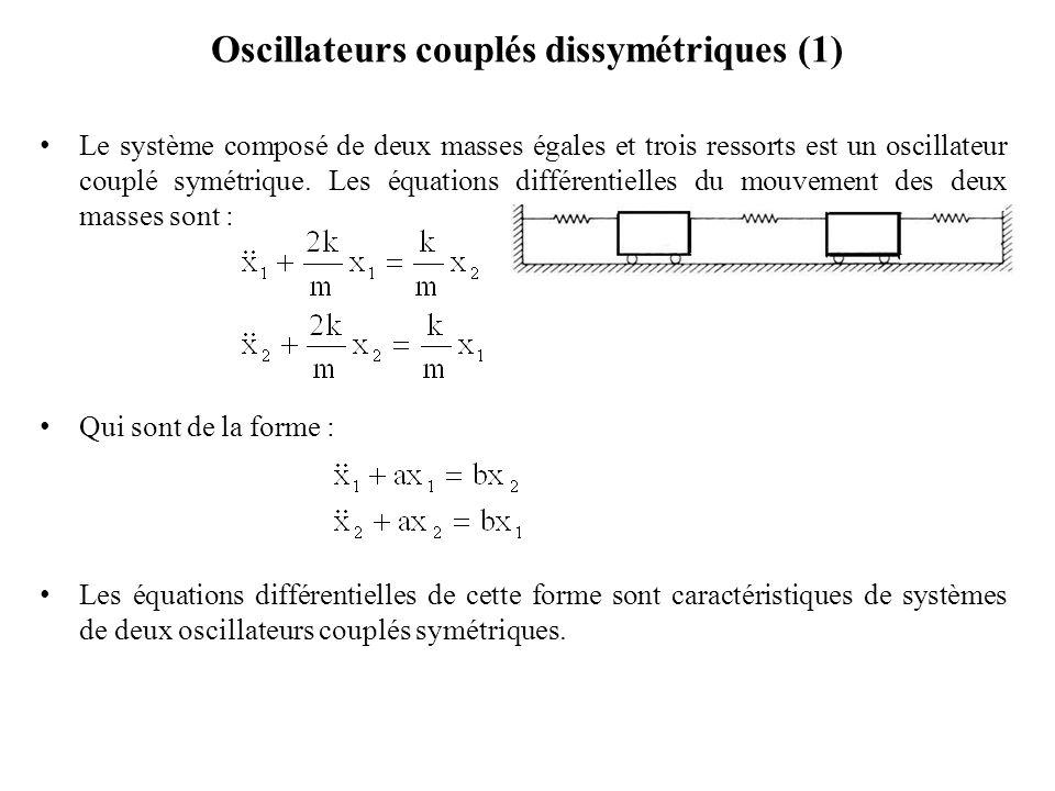 Oscillateurs couplés dissymétriques (1)