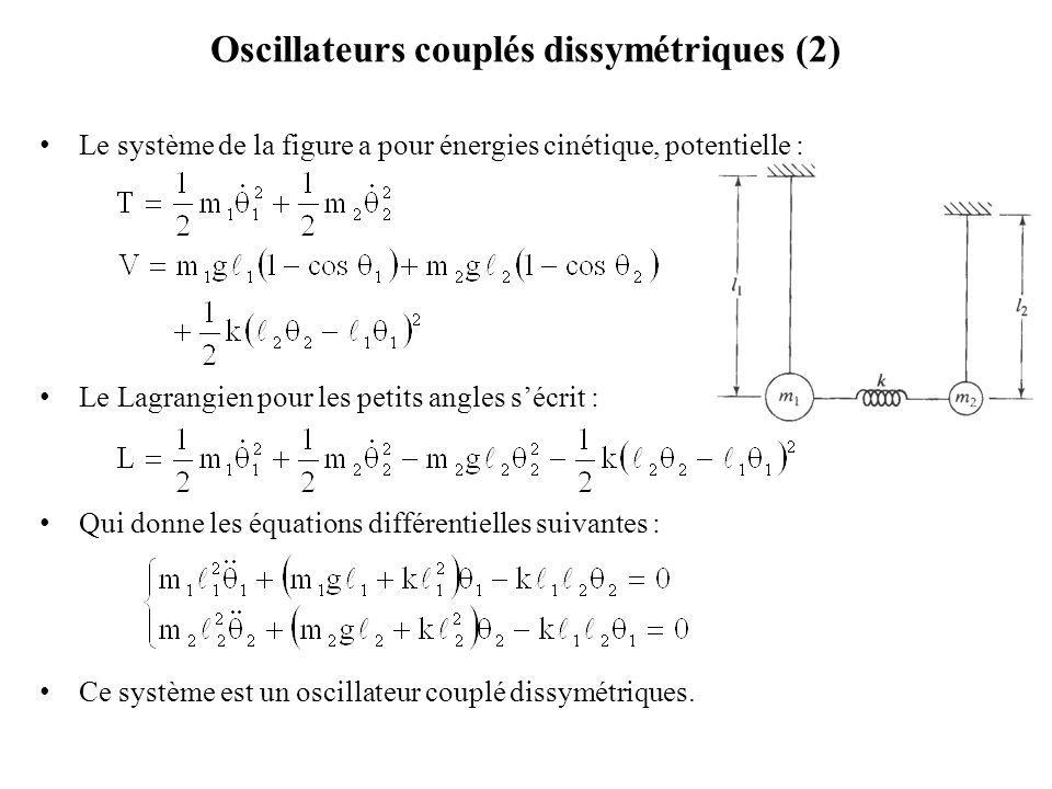 Oscillateurs couplés dissymétriques (2)