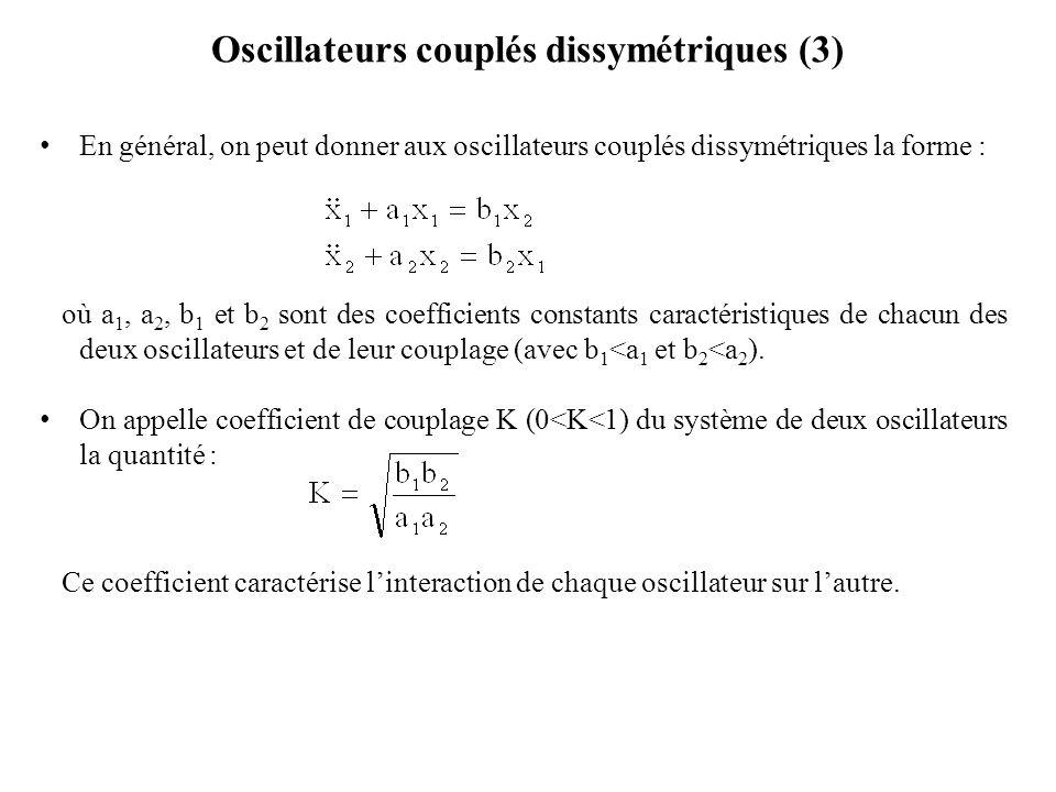 Oscillateurs couplés dissymétriques (3)