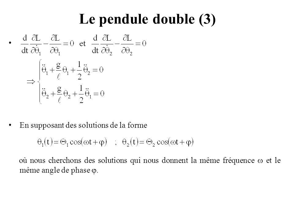Le pendule double (3) En supposant des solutions de la forme