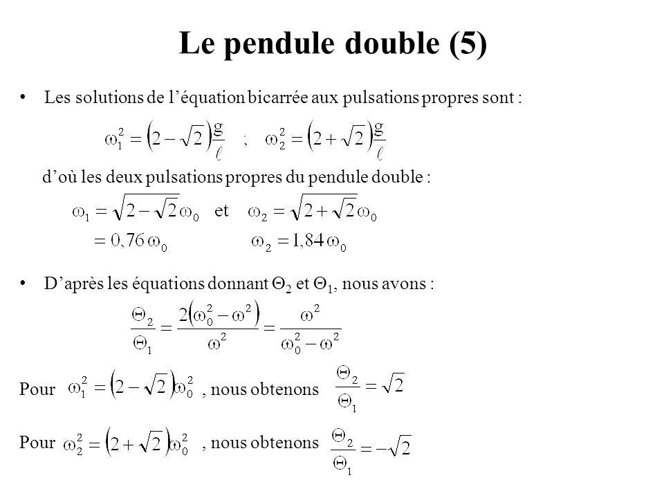 Le pendule double (5) Les solutions de l'équation bicarrée aux pulsations propres sont : d'où les deux pulsations propres du pendule double :