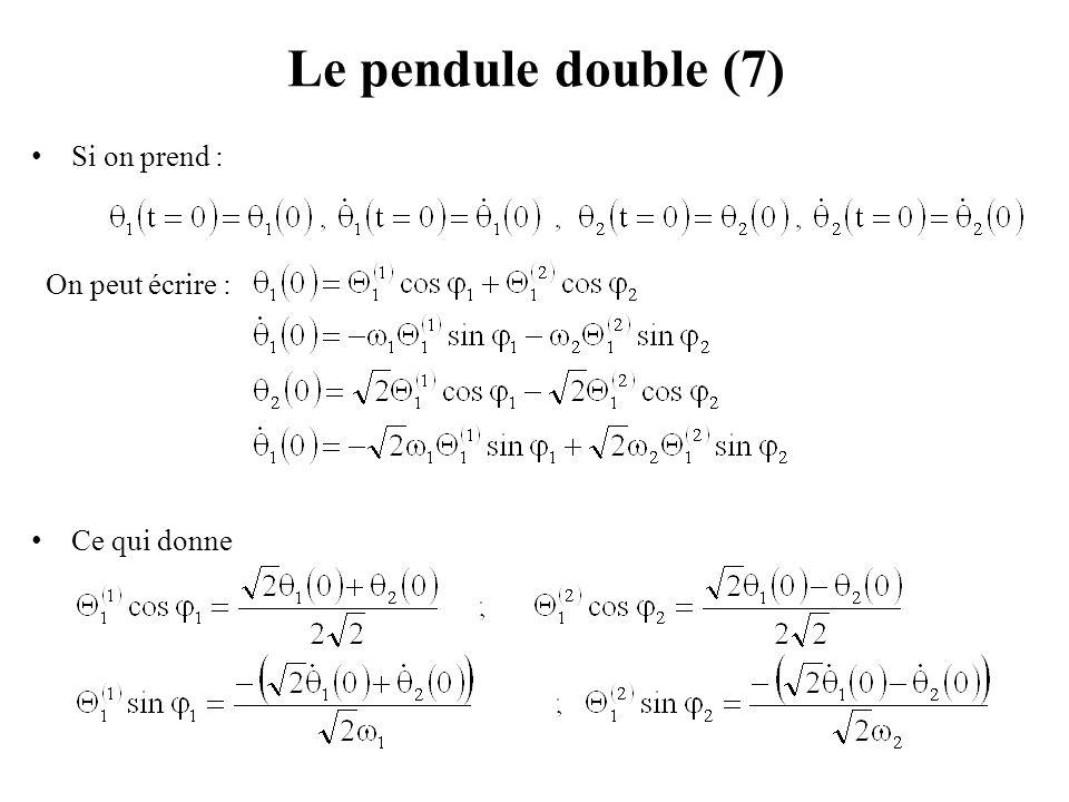 Le pendule double (7) Si on prend : On peut écrire : Ce qui donne