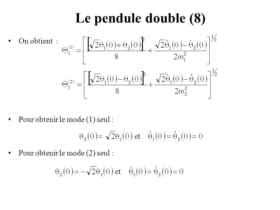 Le pendule double (8) On obtient : Pour obtenir le mode (1) seul :