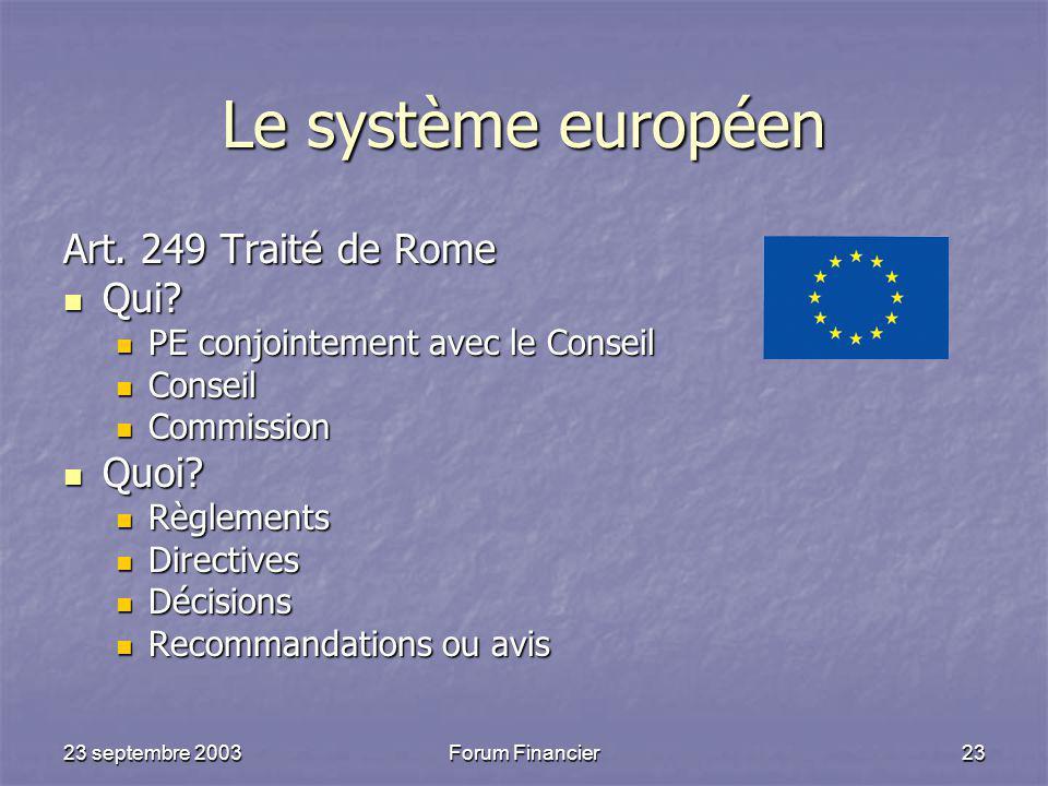 Le système européen Art. 249 Traité de Rome Qui Quoi