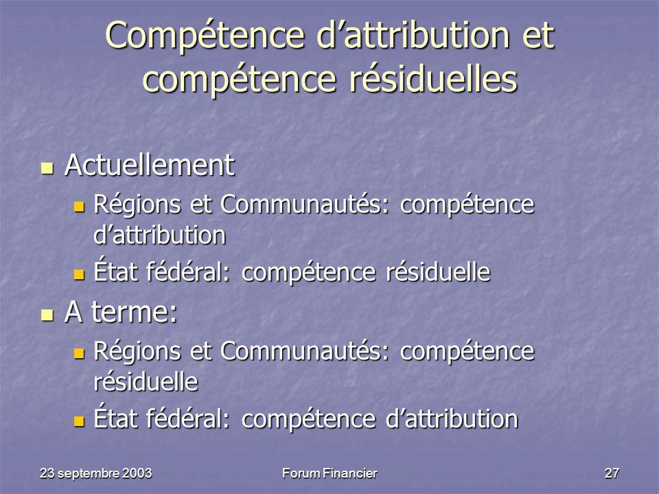 Compétence d'attribution et compétence résiduelles