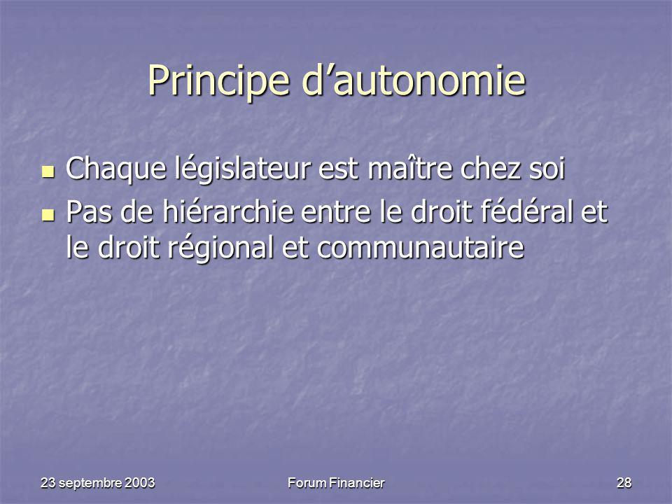 Principe d'autonomie Chaque législateur est maître chez soi