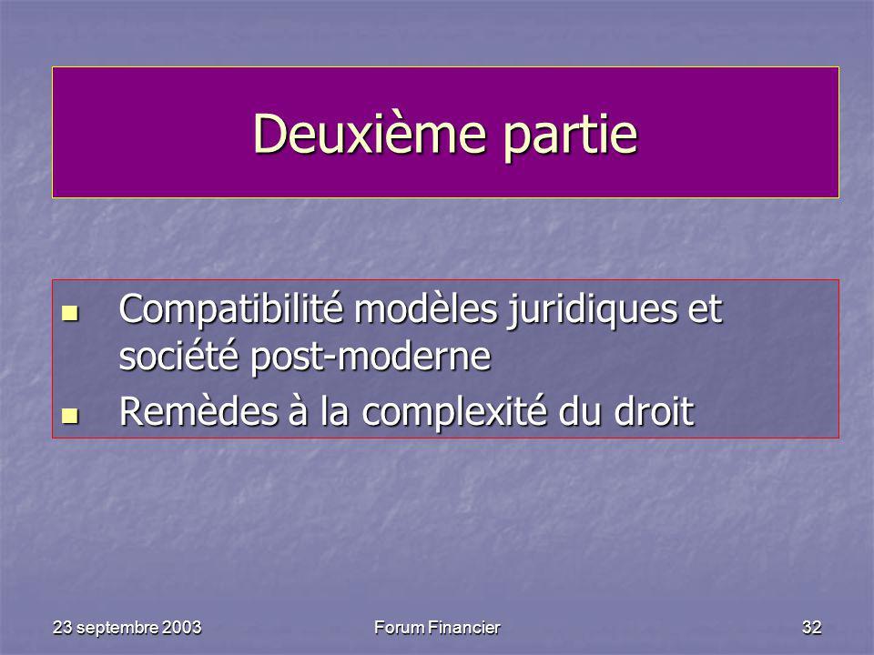 Deuxième partie Compatibilité modèles juridiques et société post-moderne. Remèdes à la complexité du droit.