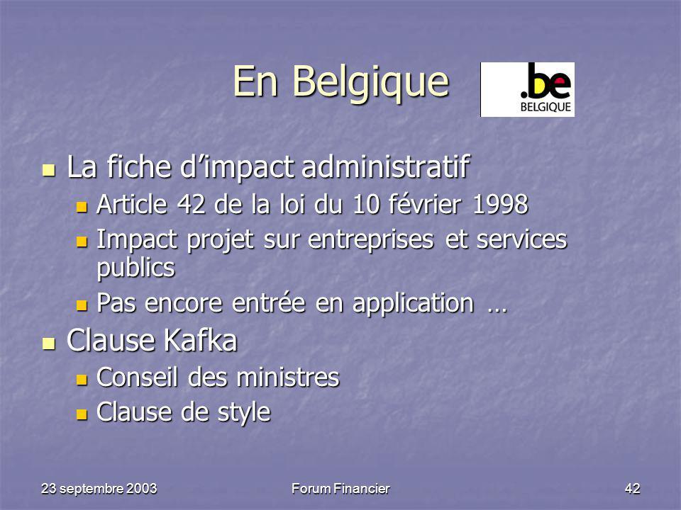 En Belgique La fiche d'impact administratif Clause Kafka