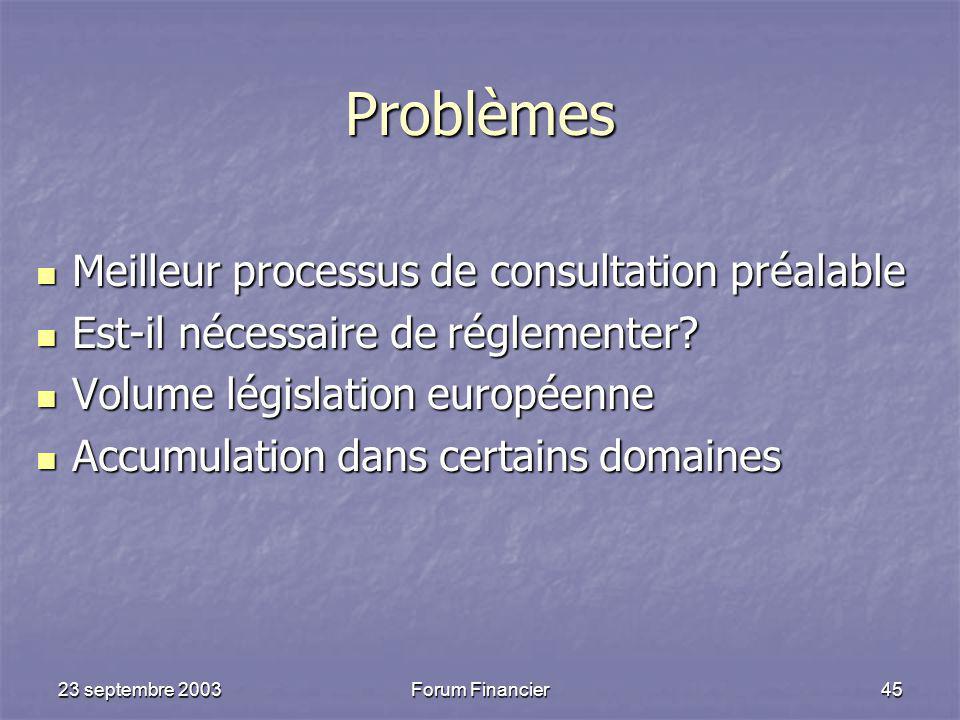 Problèmes Meilleur processus de consultation préalable