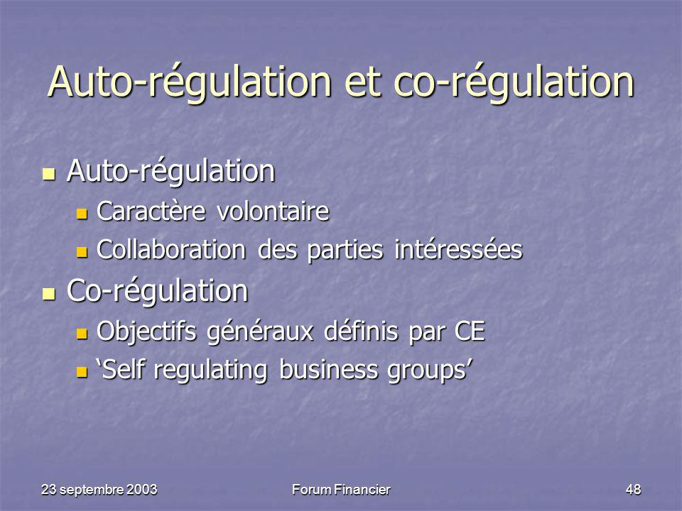 Auto-régulation et co-régulation