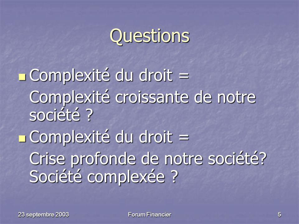Questions Complexité du droit =