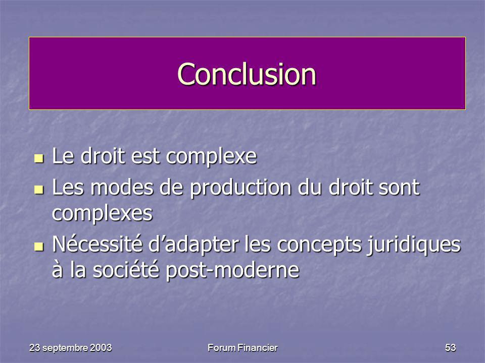 Conclusion Le droit est complexe