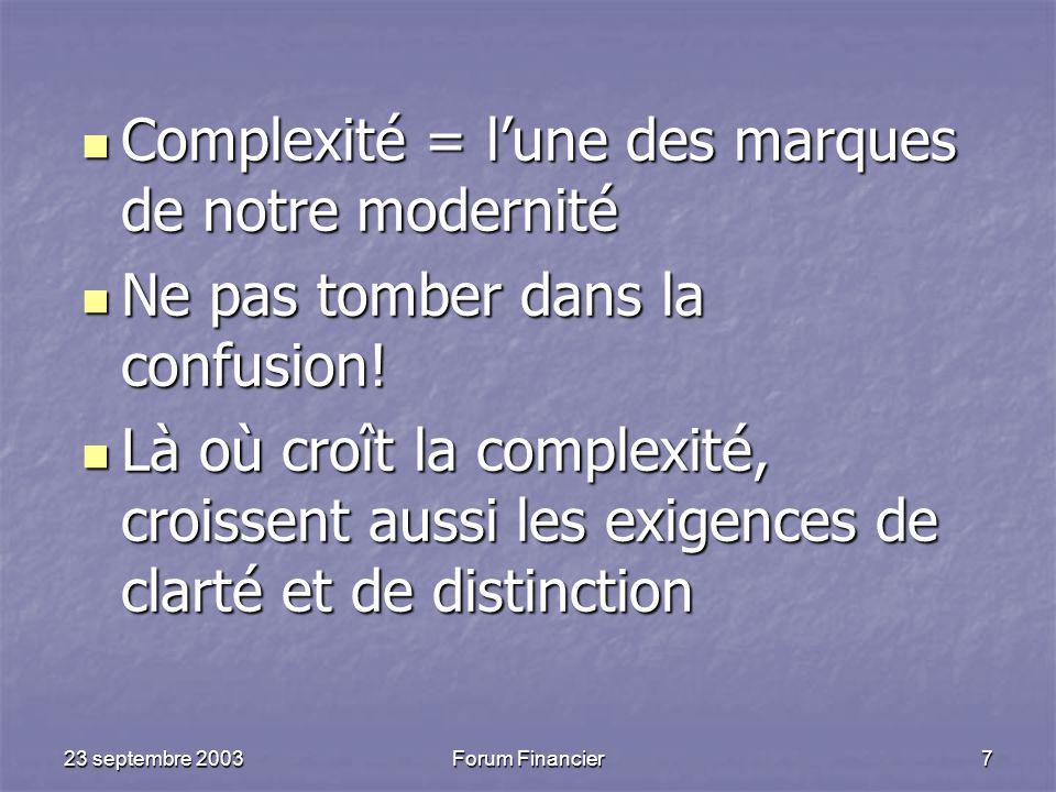 Complexité = l'une des marques de notre modernité
