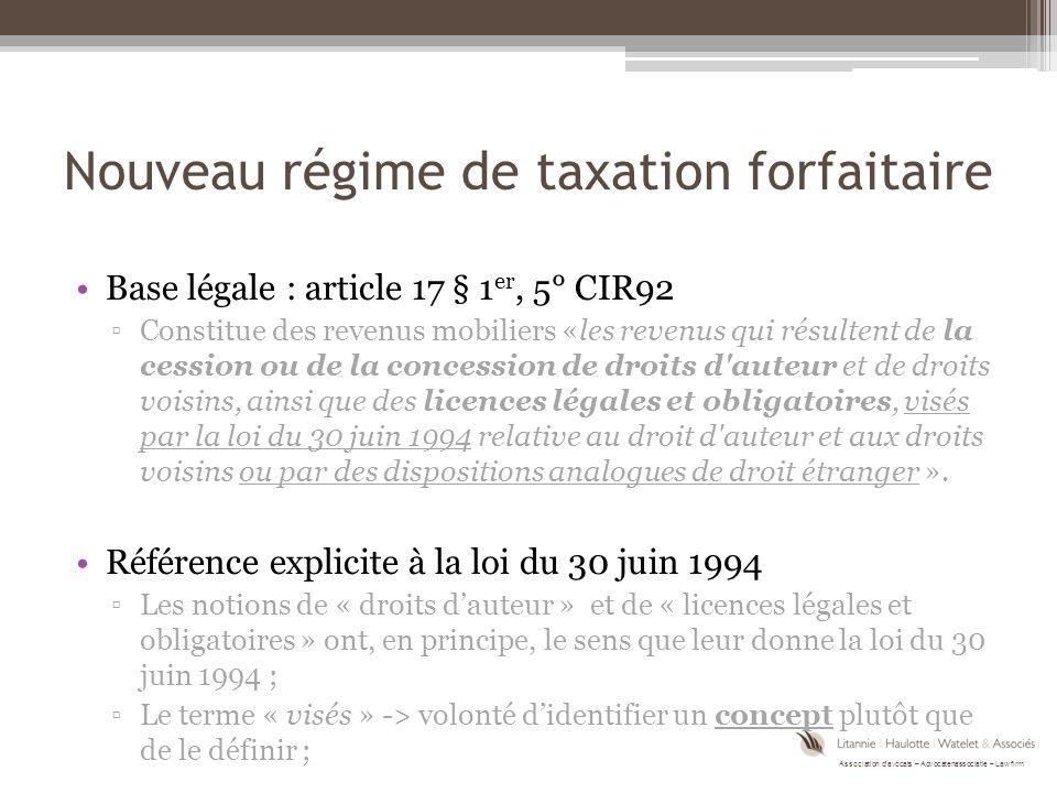 Nouveau régime de taxation forfaitaire
