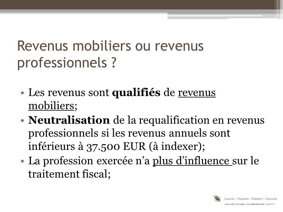 Revenus mobiliers ou revenus professionnels
