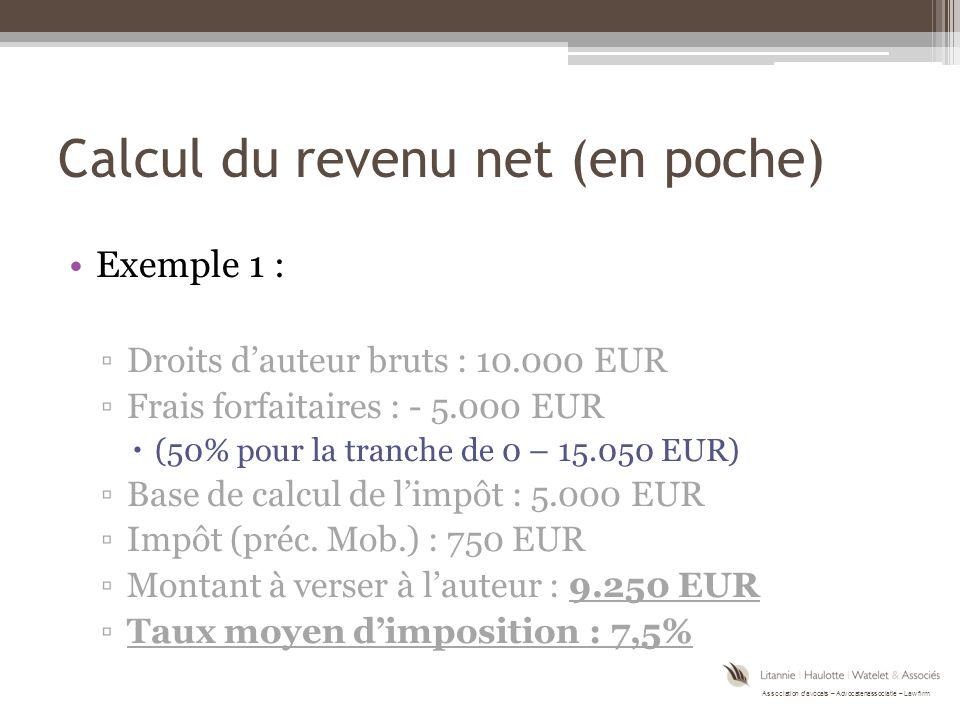 Calcul du revenu net (en poche)