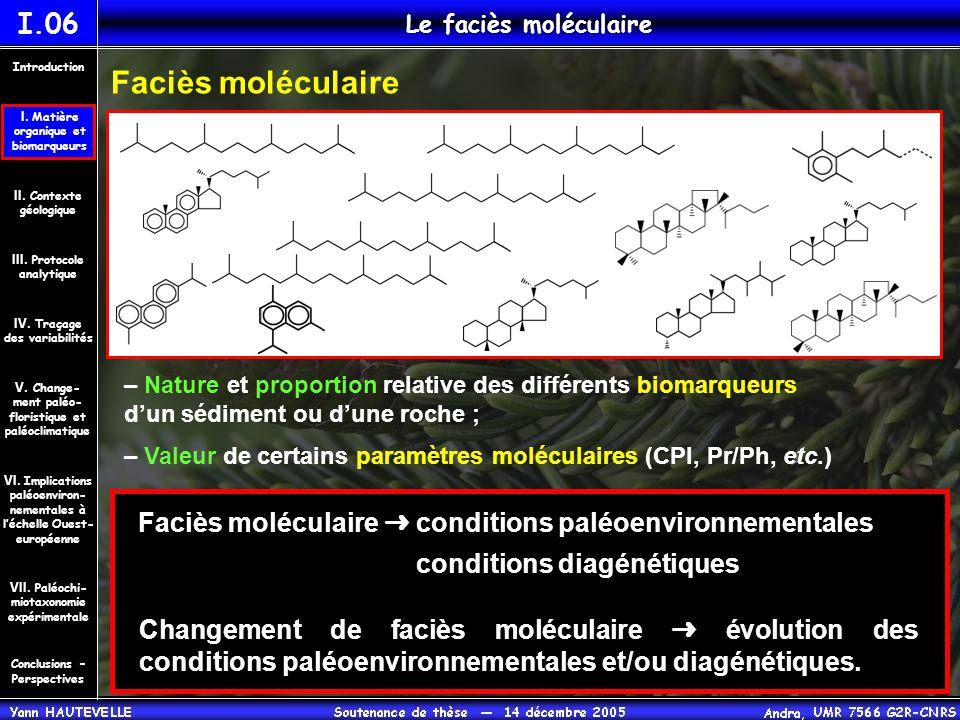 I.06 Le faciès moléculaire. Introduction. Faciès moléculaire. I. Matière. organique et. biomarqueurs.