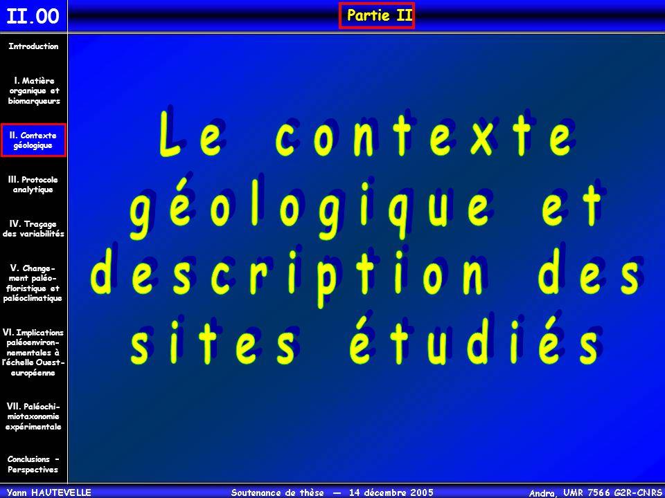 Le contexte géologique et description des sites étudiés