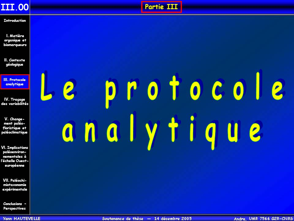 Le protocole analytique