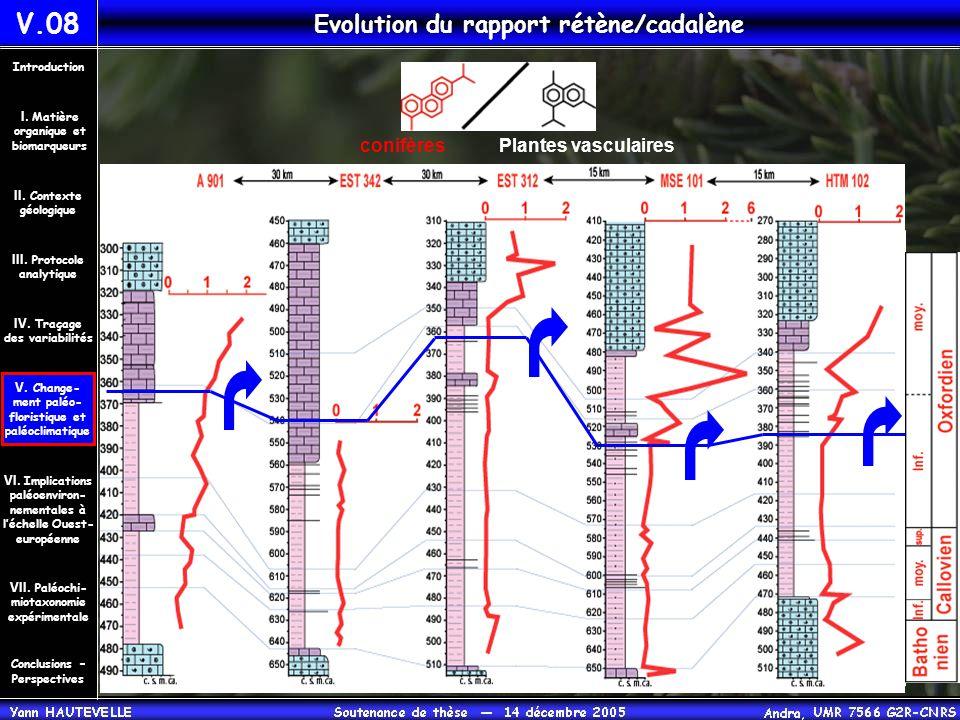 Evolution du rapport rétène/cadalène