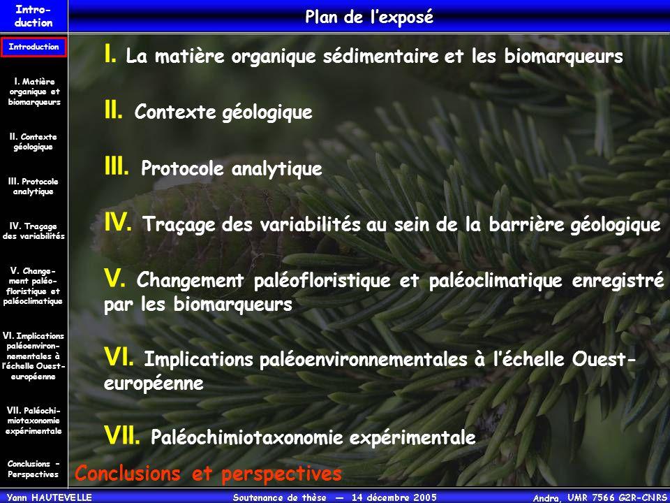 I. La matière organique sédimentaire et les biomarqueurs