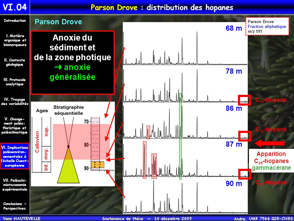 Parson Drove : distribution des hopanes