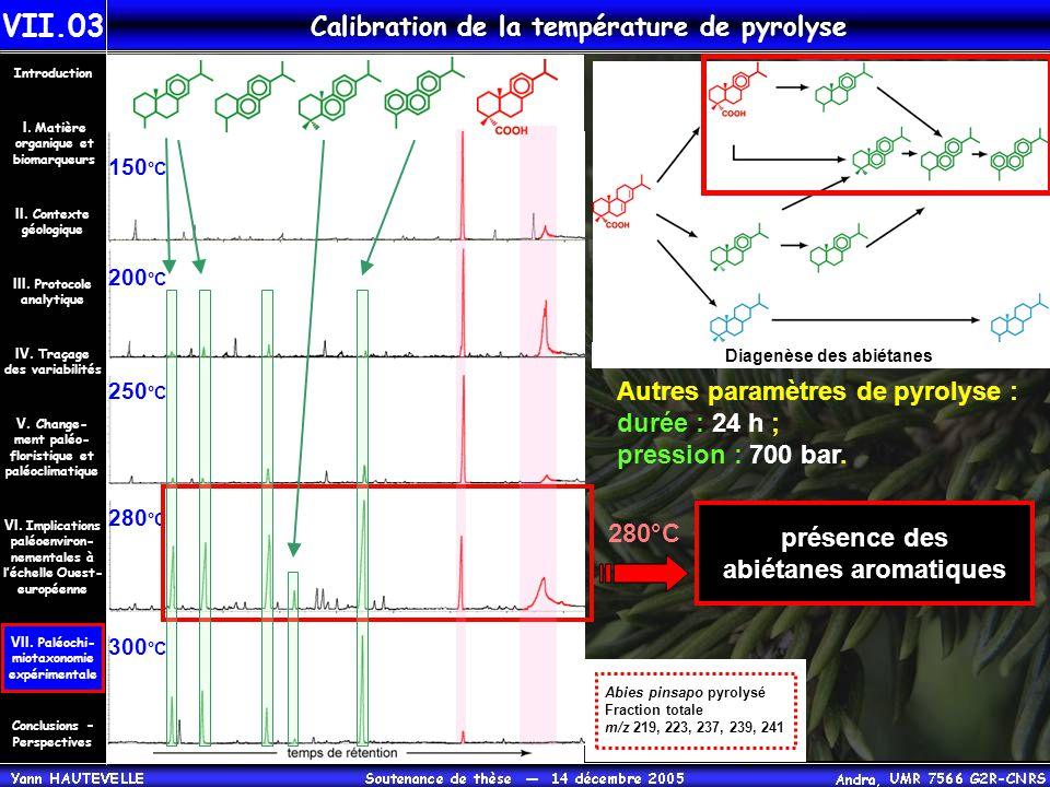 Calibration de la température de pyrolyse