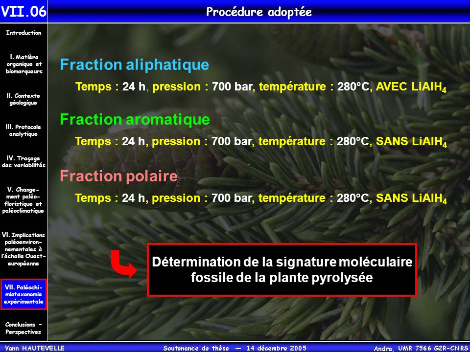 Fraction aliphatique Fraction aromatique Fraction polaire