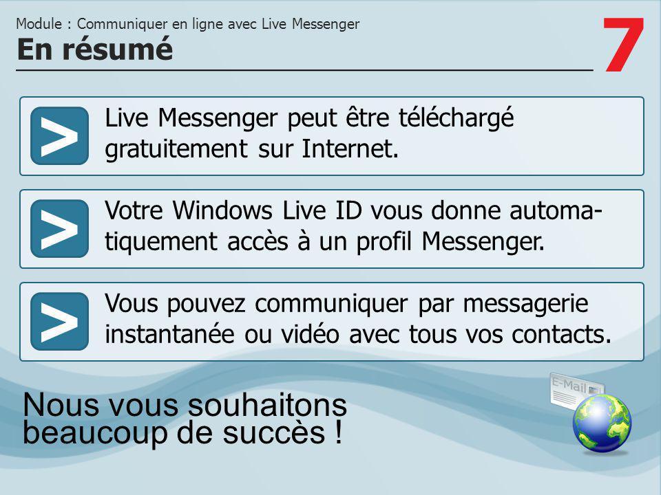 Module : Communiquer en ligne avec Live Messenger