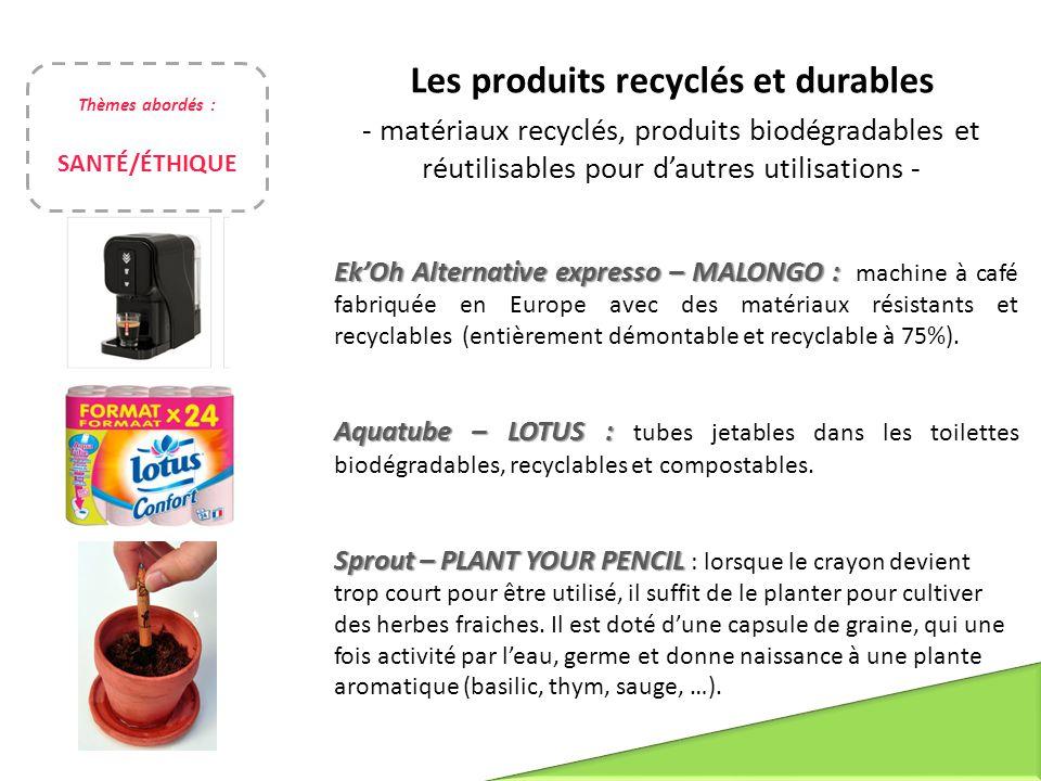 Les produits recyclés et durables