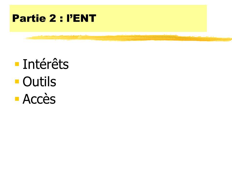 Partie 2 : l'ENT Intérêts Outils Accès