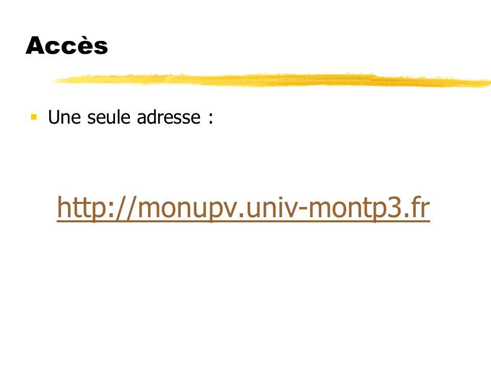 Accès Une seule adresse : http://monupv.univ-montp3.fr