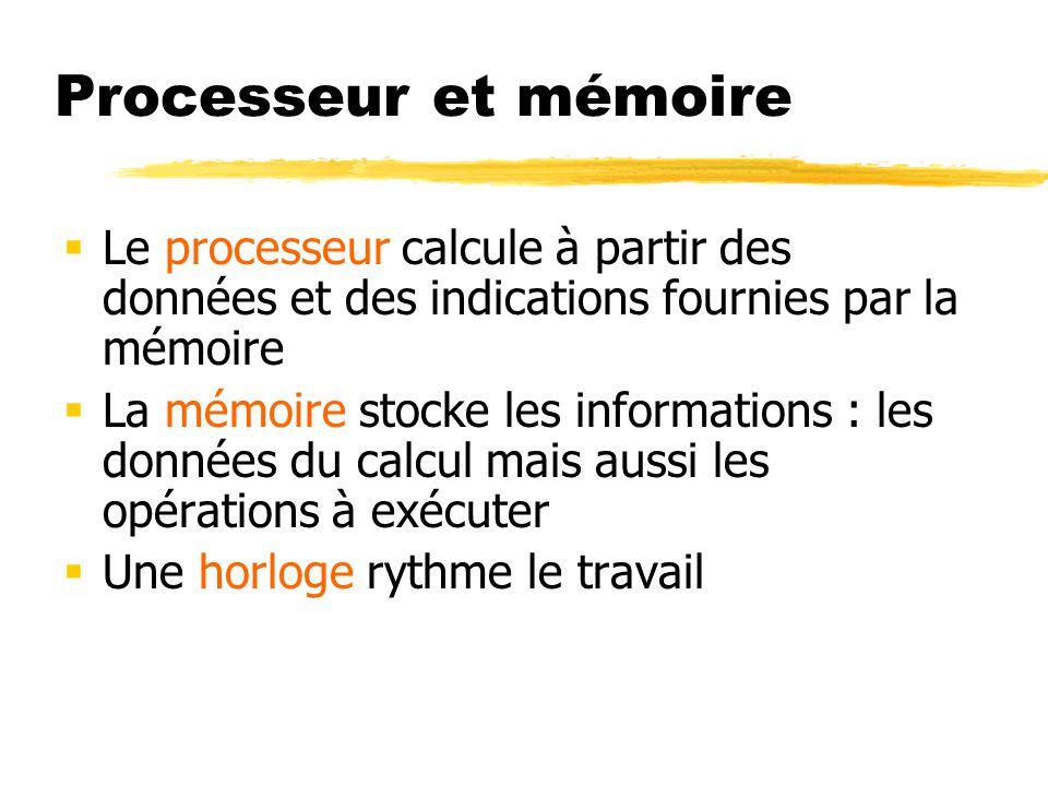 Processeur et mémoire Le processeur calcule à partir des données et des indications fournies par la mémoire.