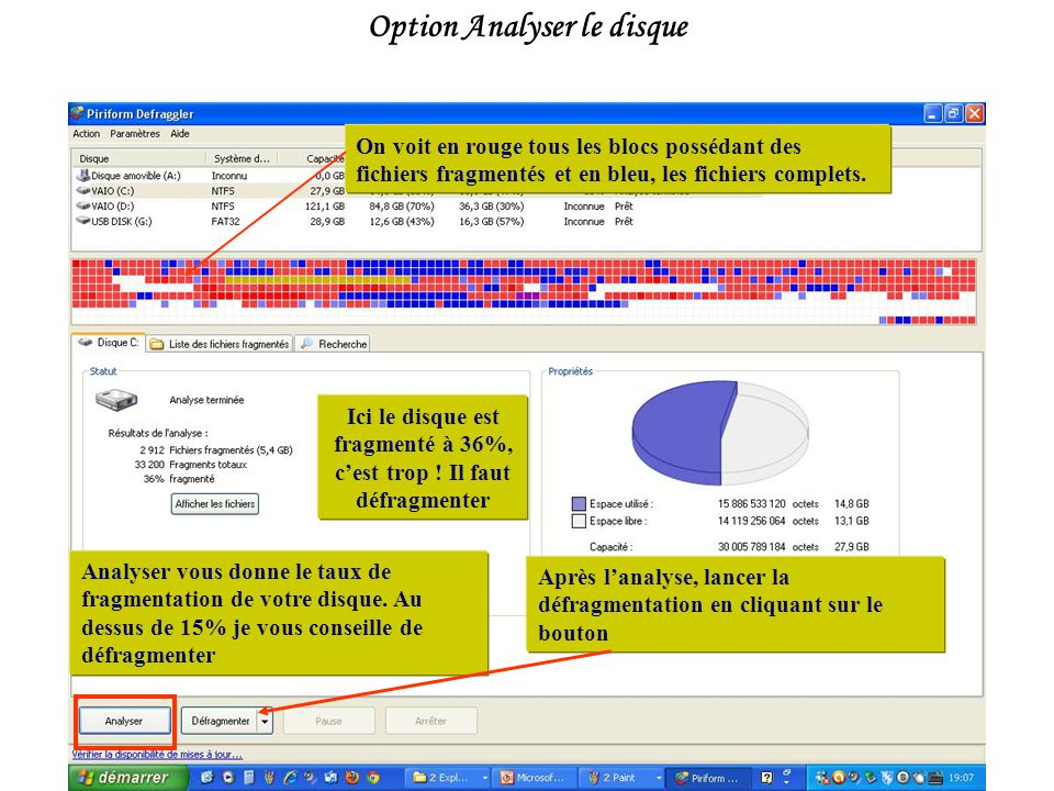 Option Analyser le disque